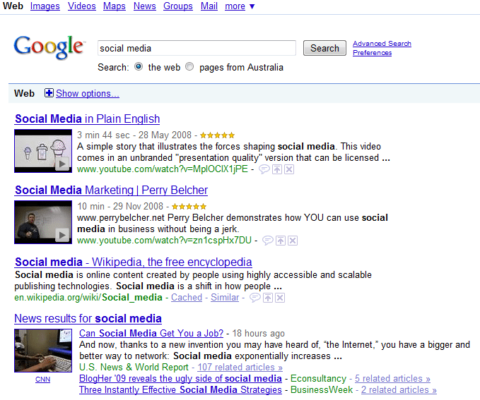 Social Media Results Google Search V2