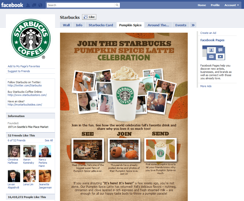 Facebook Page Top 10 Company Brand Starbucks