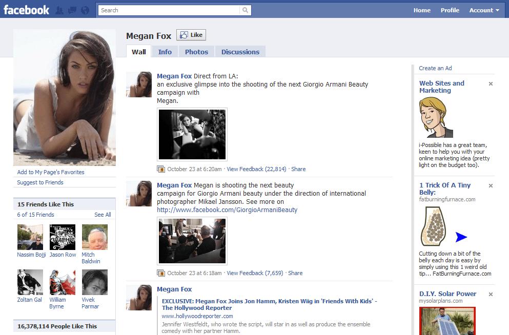 Facebook Page 11 Megan Fox - Jeffbullas's Blog on