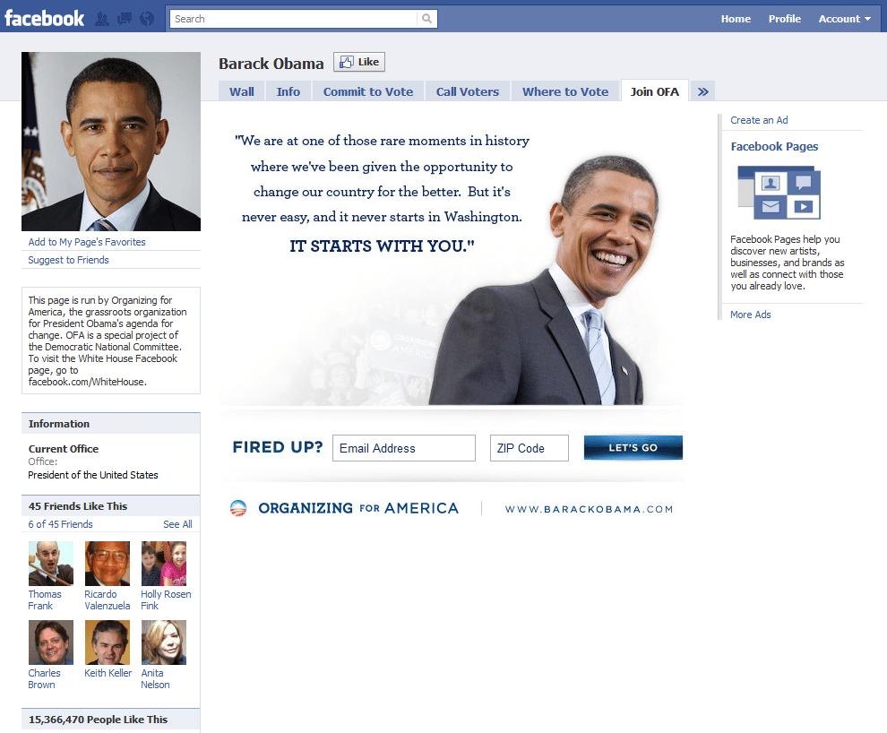 Facebook Page 16 Barack Obama