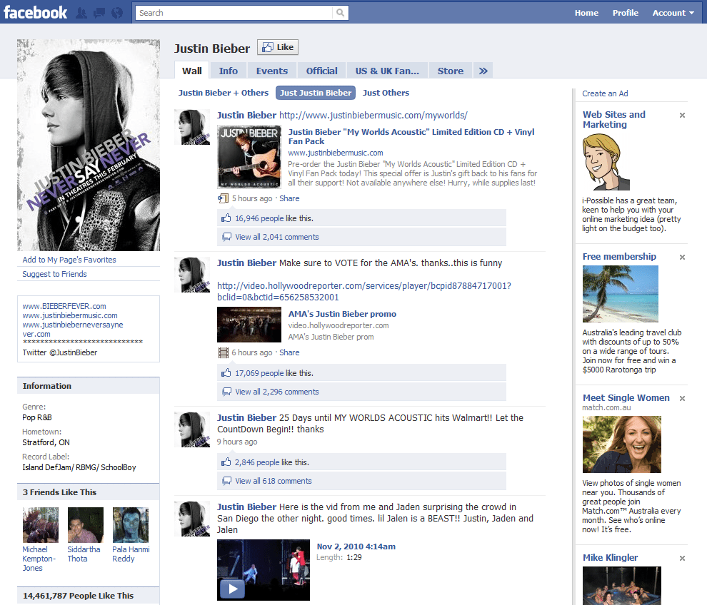 Facebook Page 18 Justin Bieber