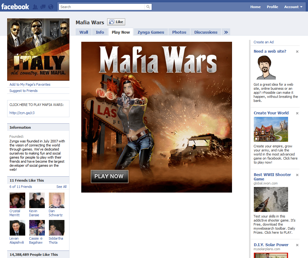 Facebook Page 19 Mafia Wars