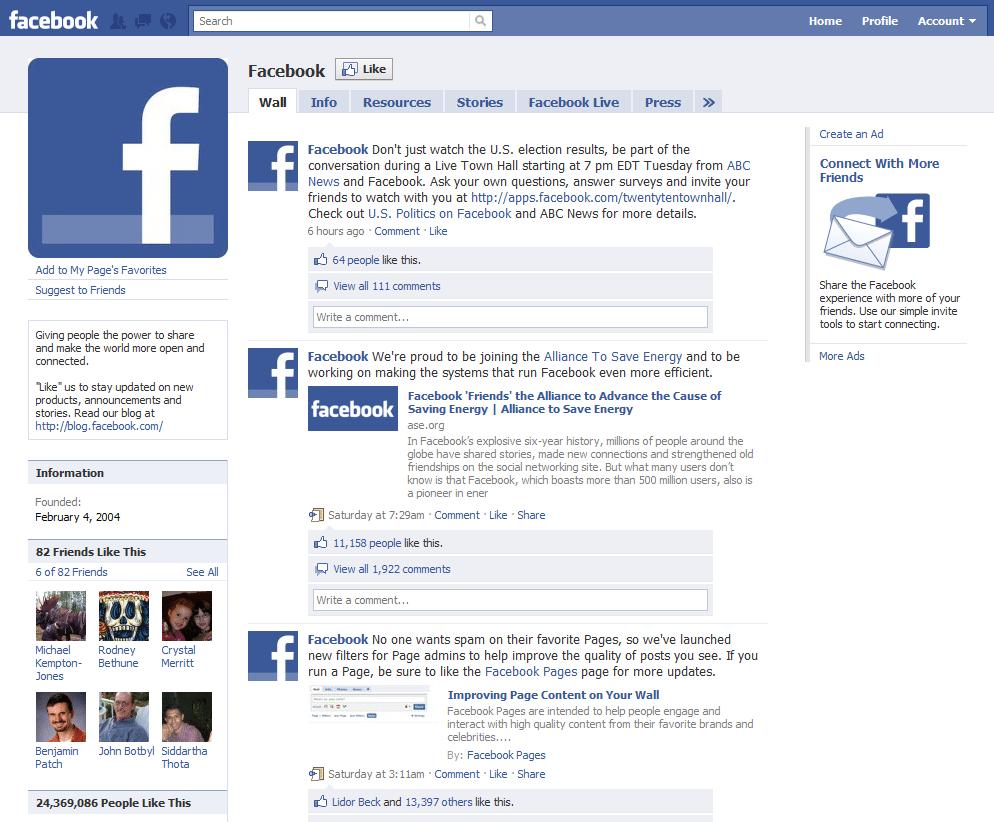 Facebook blog page