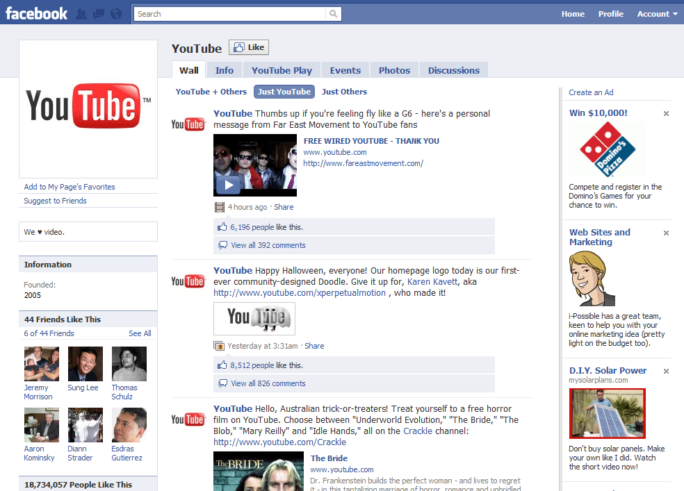 Facebook Page 6 YouTube