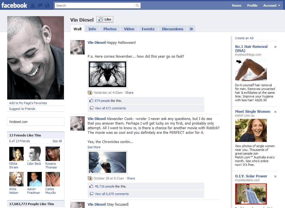 Facebook Page 8 Vin Diesel