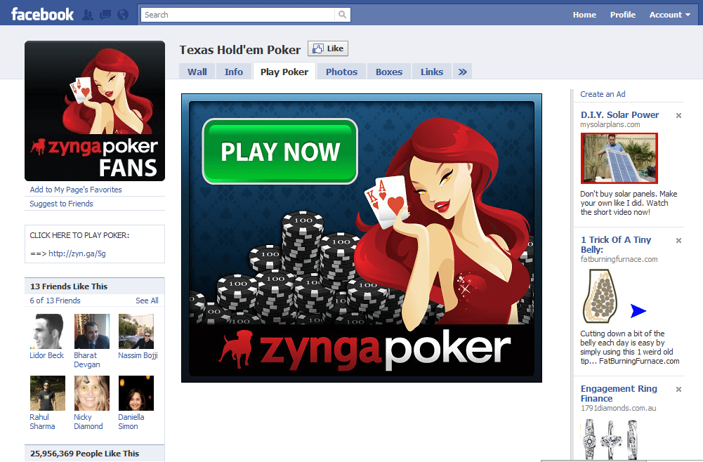 Facebook Page One Zygna Texas Holdem Poker