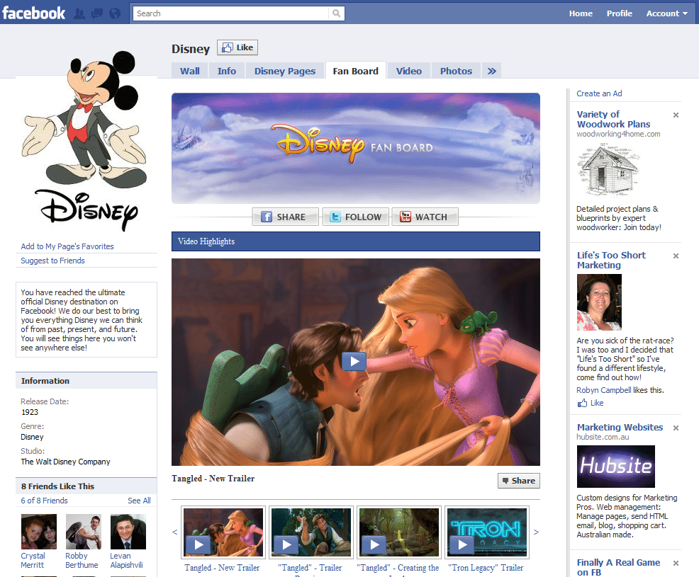 Facebook Page Top 10 Brand and Company Disney