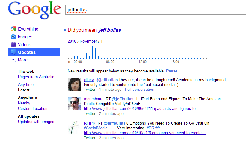@Jeffbullas Twitter Updates Google Real time stream search