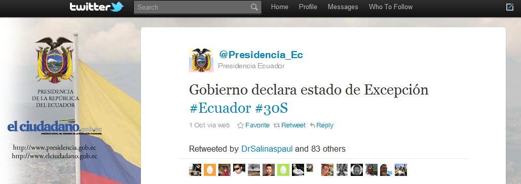 10  Most Powerful Tweets in 2010 Tweet 5 Ecuador President