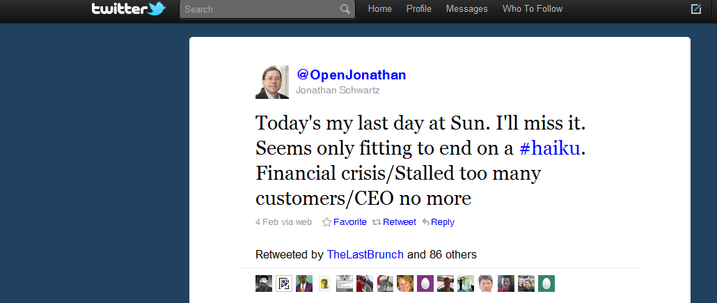 10 Most Powerful Tweets Of 2010 Tweet 7 Jonathan Schwartz CEO Sun
