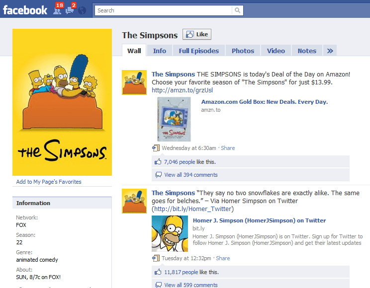 The Worlds 10 Fastest Growing Facebook Sites 10 Simpsons
