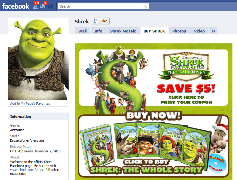 The Worlds 10 Fastest Growing Facebook Sites 5 Shrek