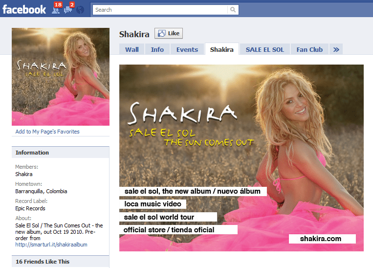 The Worlds 10 Fastest Growing Facebook Sites 7 Shakira