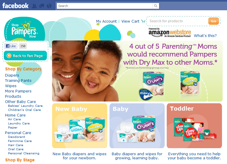 FCommerce store Pampers Facebook store