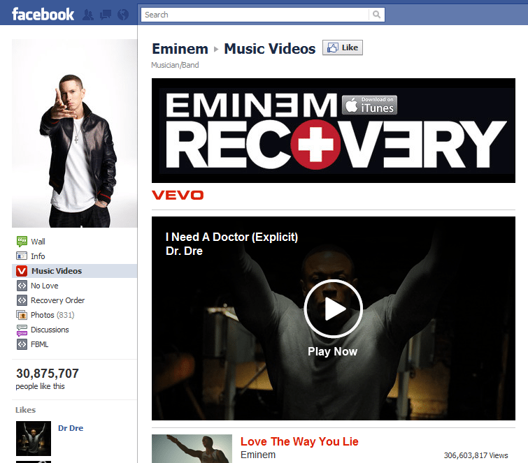 Top 10 Musicians Facebook 1 Eminem