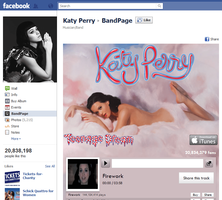 Top 10 Musicians Facebook 10 Katy Perry