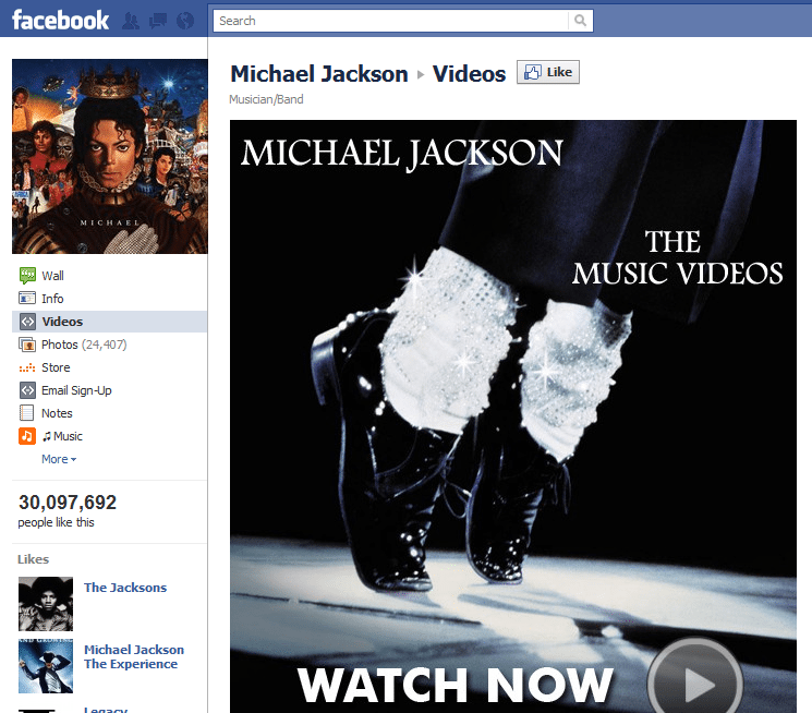Top 10 Musicians Facebook 3 Michael Jackson