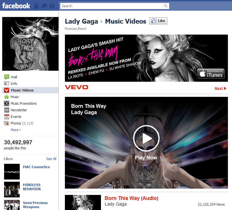 Top 10 Musicians Facebook 2 Lady Gaga