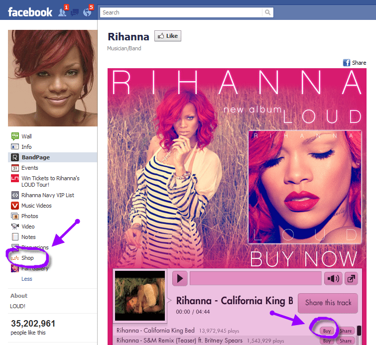 Facebook Social Commerce Rihanna facebook page