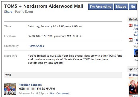 Facebook Toms shoes events