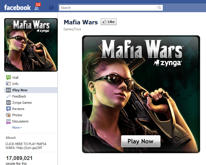 Mafia Wars Facebook Fan Page