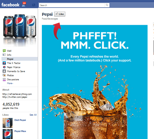 Pepsi Facebook Fan Page