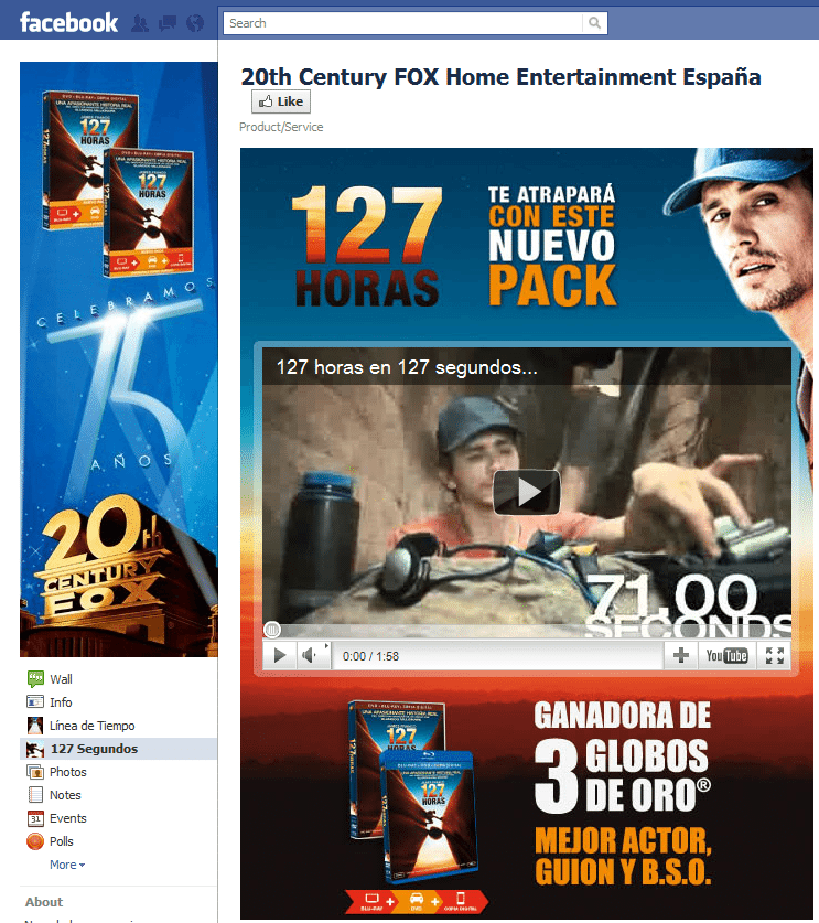 20th Century Fox Spain Facebook Landing Page