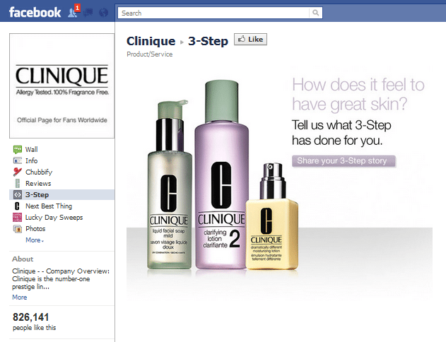 Clinique Facebook Page