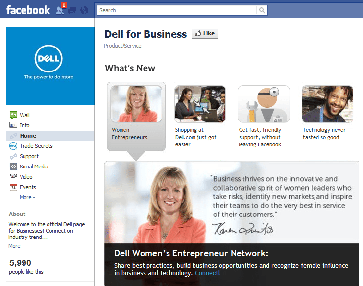 Dell for Business Facebook Page