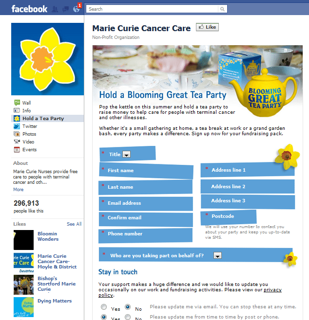 Marie Curie Cancer Care Facebook Page