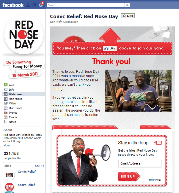 Red Nose Day Facebook Page