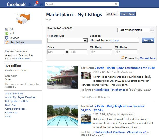 Marketplace Facebook App