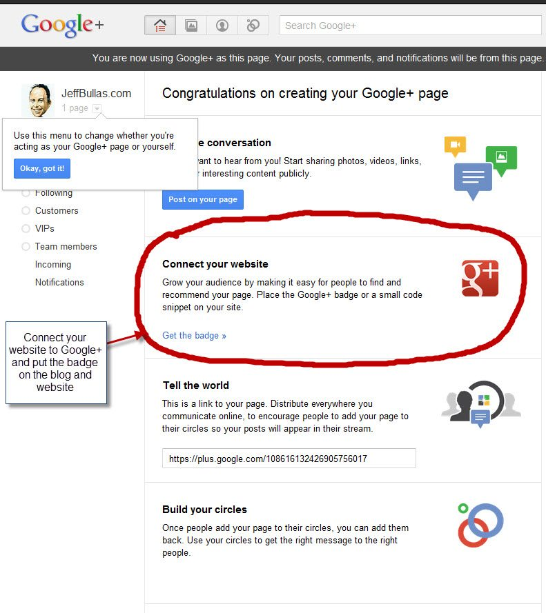 Google+ page setup step 5