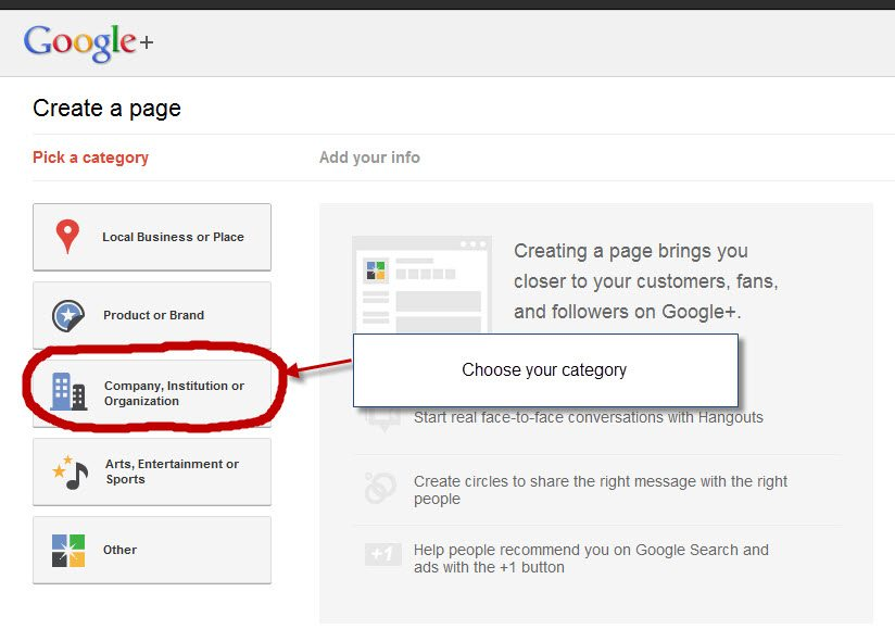 Google+ pages setup step 2