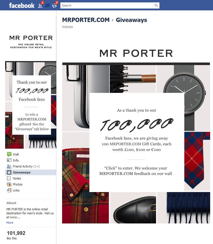 Content, The Heart and Soul of Your Online Brand image Mr Porter Facebook Page step 2