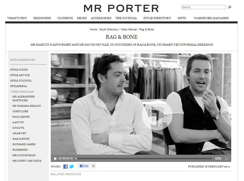 Mr Porter Video Manual