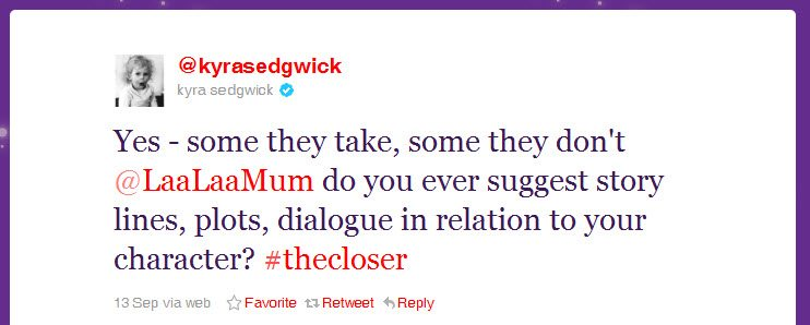 Tweet from Kyra Sedgwick from the series The Closer