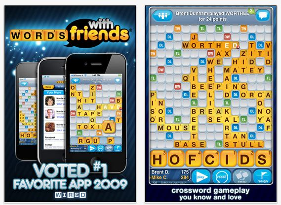 words with friends mobile app
