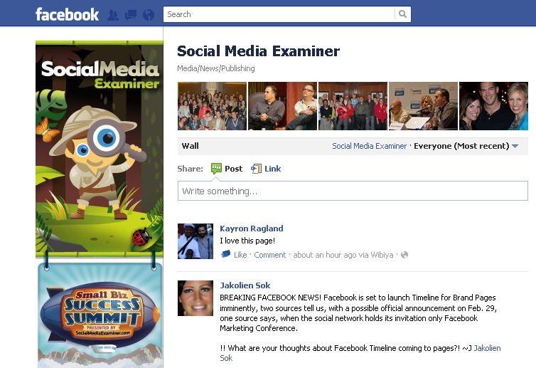 Facebook page Social Media Examiner