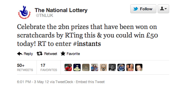 Twitter contest National Lottery