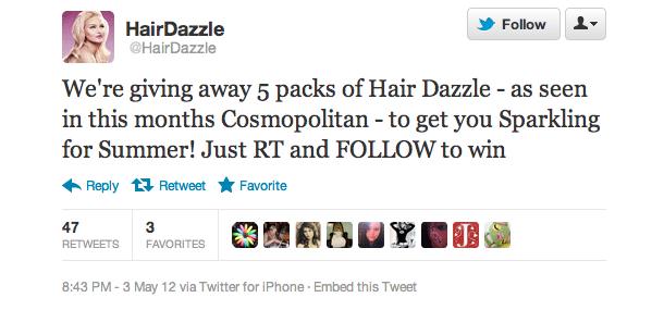 Twitter contest hair dazzle Cosmopolitan