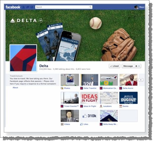 Delta Airlines Facebook Marketing 6 types of content