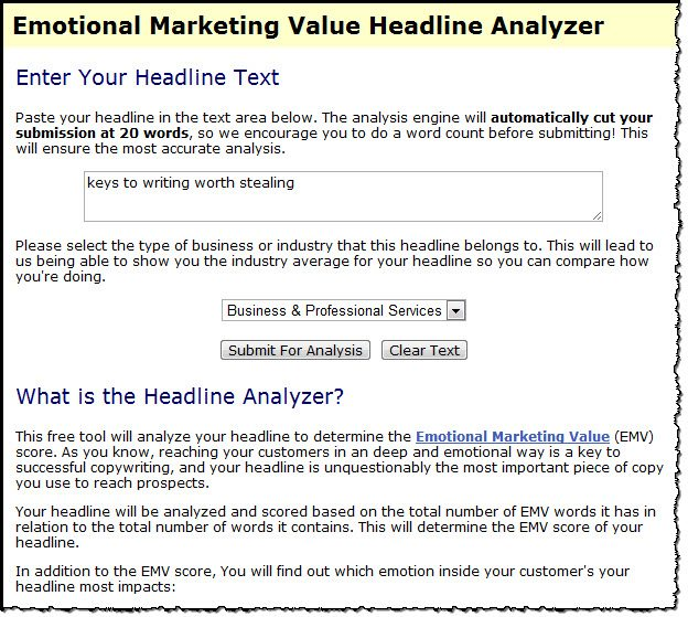 Emotional Marketing Headline Anaylzer tool