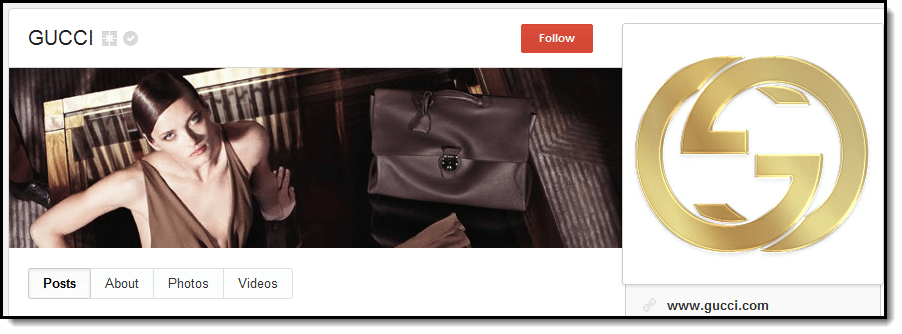 Gucci cover on Google+