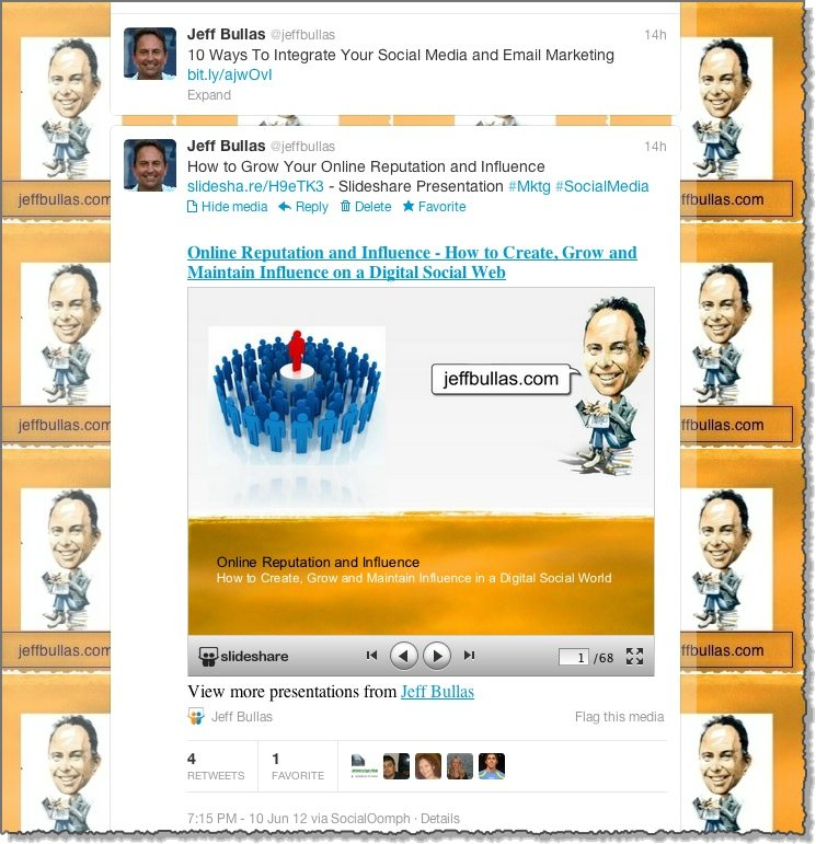 Slideshare presentation viewed within Twitter