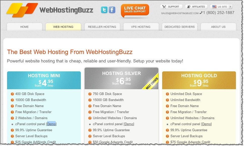 Webhostingbuzz start page