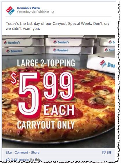 Domino's Facebook page exclusive offer