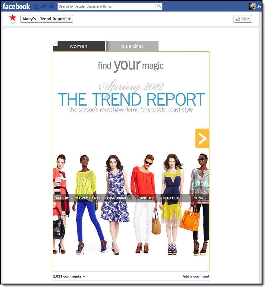 Macys Trend report app and tab on their Facebook page