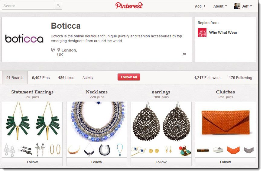 Boticca Pinterest product category boards with pins linking to online store