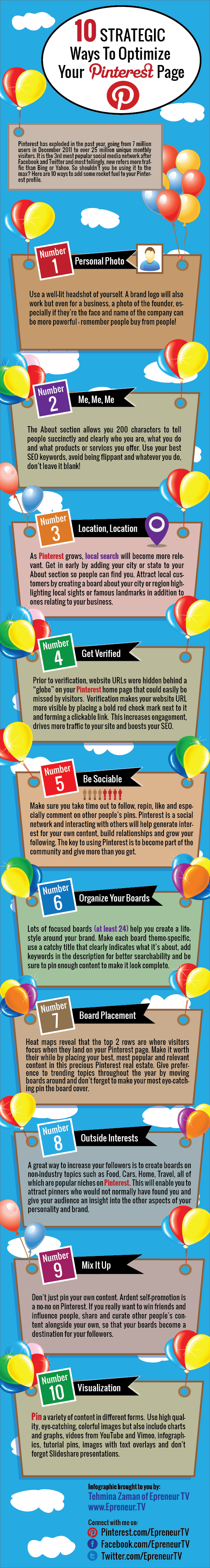 10 Strategic Ways to Optimize Your Pinterest Page - Infographic | Jeffbullas's Blog